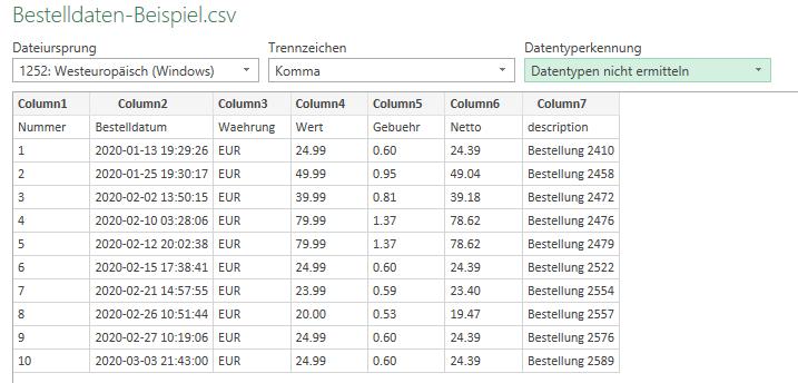 Screenshot Anpassung der CSV-Daten im Import-Assistenten