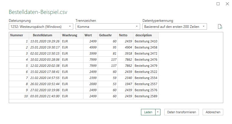Screenshot des Excel-Import-Assistenten für CSV-Daten
