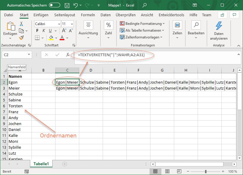 Excel Screenshot mit TEXTVERKETTEN-Funktion, um Textkette mit Trennzeichen zu erstellen
