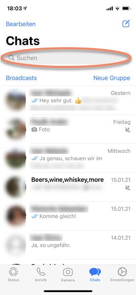 iPhone Screenshot WhatsApp Chats mit eingeblendetem Suchfeld