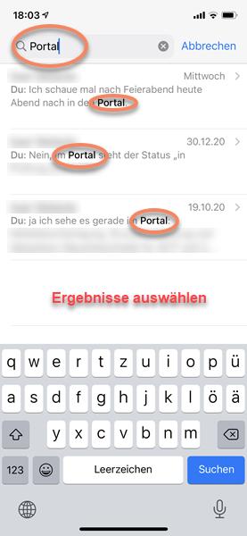 iPhone Screenshot WhatsApp Suchergebnisse in den Chats
