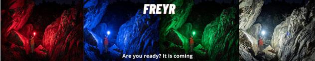 verschiedene Farben und Ausleuchtungen der Olight Freyr Taschenlampe