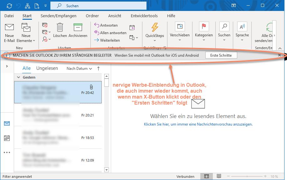 Screenshot Outlook mit Meldung Ständiger Begleiter