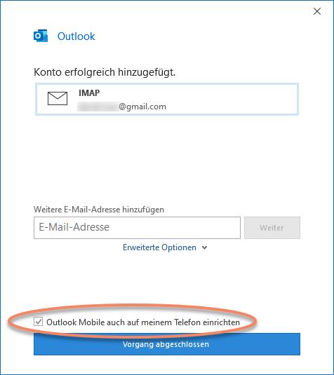 Scrrenshot Outlook-Kontoeinstellungen mit Checkbox Outlook Mobile auch auf meinem Telefon einrichten