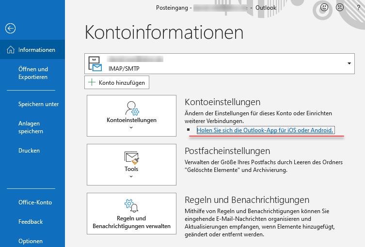 Screenshot Outlook Kontoinformationen mit Link zur Outlook App