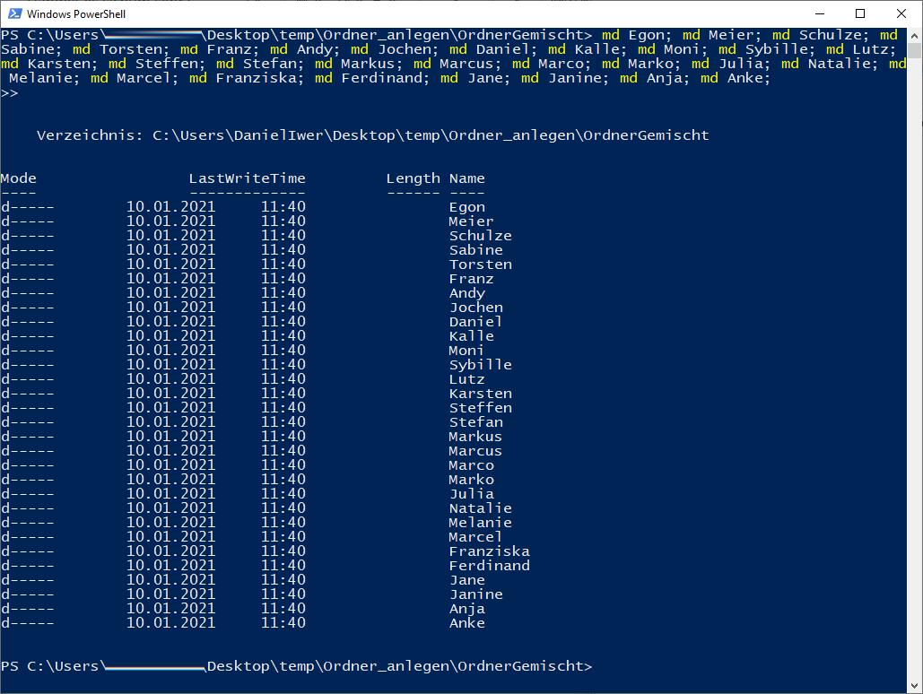Screenshot Powershell mehrfacher MakeDir-Befehl
