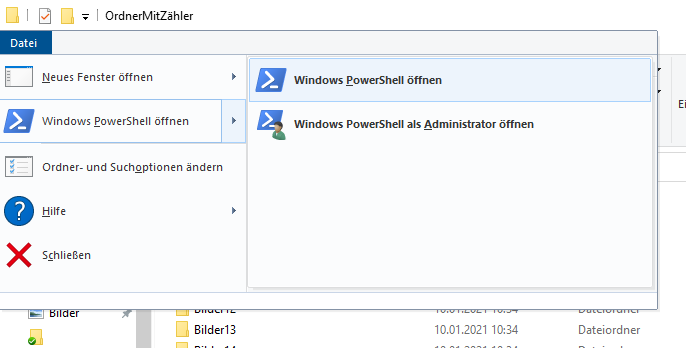 Screenshot PowerShell über Windows Explorer starten
