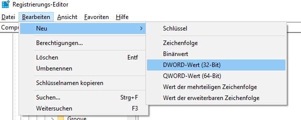 Screenshot einen neuen Registry-Eintrag anlegen