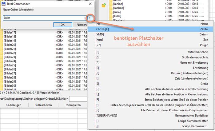 Screenshot Total Commander Neues Verzeichnis erstellen mit Auswahl Platzhalter