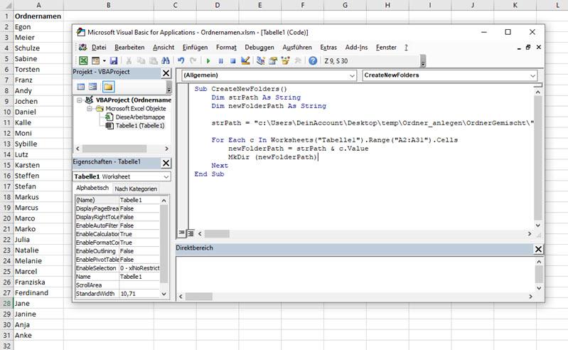 Screenshot von Excel und VBA-Editor