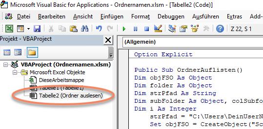 Screenshot VBA-Editor Excel Makro