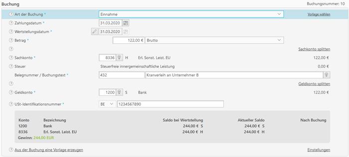 Screenshot Buchhaltungsprogramm