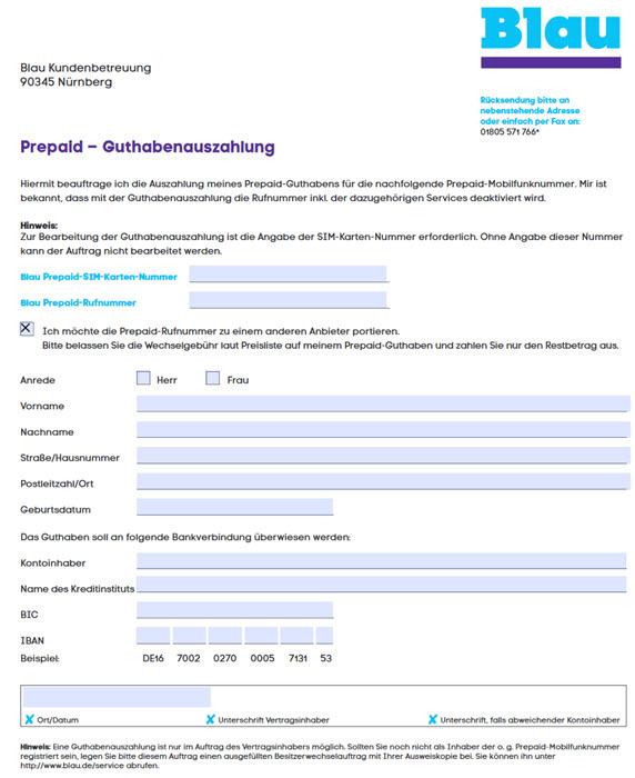 Screenshot des Formulars zur Guthabenauszahlung von Blau.de