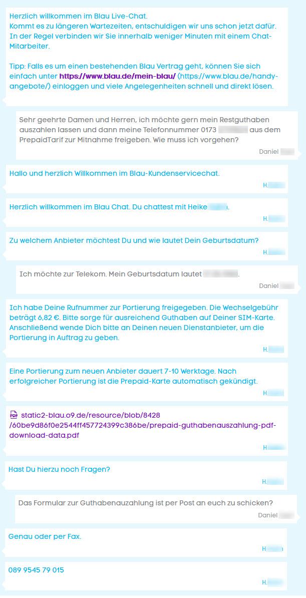 Chat-Verlauf mit Mitarbeiter von Blau.de