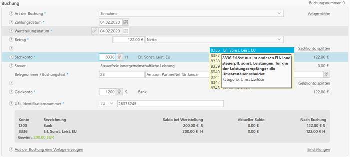 Screenshot Buchhaltung Amazon PartnerNet-Vergütung