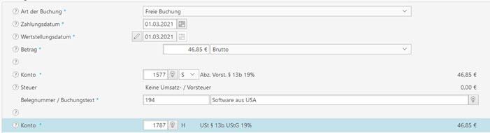 Screenshot Kontierung SKR03 in Buchhaltungssoftware