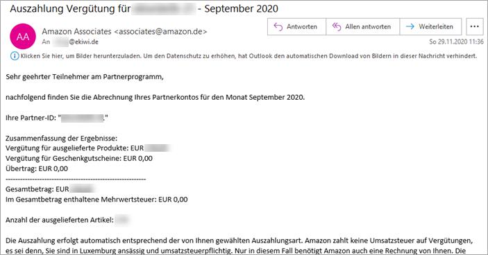E-Mail Amazon PartnerNet Auszahlung der Vergütung