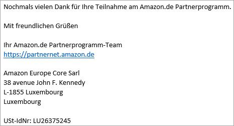 Screenshot E-Mail Signatur Amazon Auszahlungsvergütung