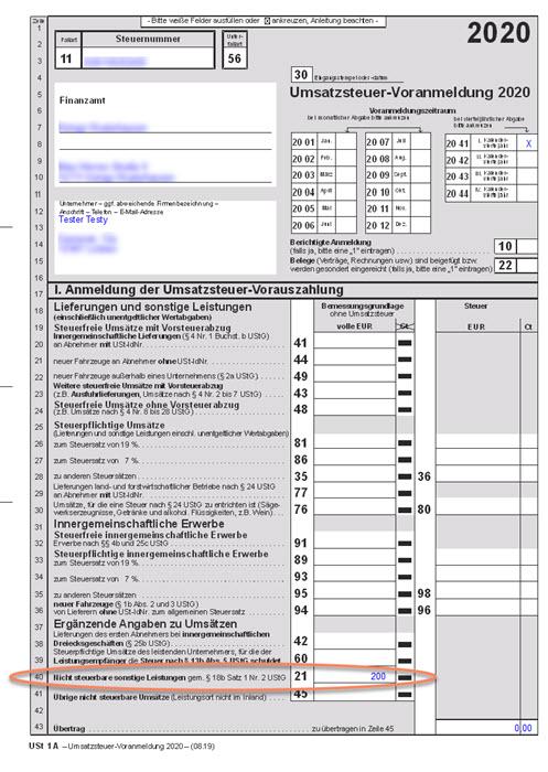 Formular für Umsatzsteuer-Voranmeldung mit Eintragung der Adsense-Werbeeinnahmen