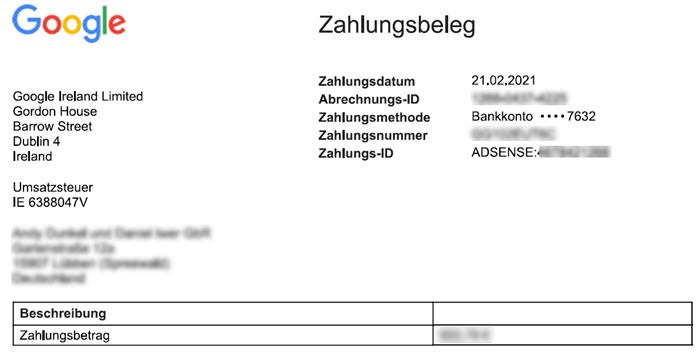 Screenshot Google Adsense Zahlungsbeleg