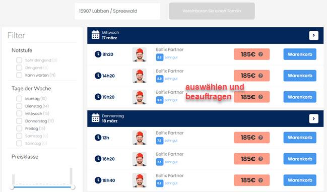 Screenshot Belfix Angebote regionaler Handwerker