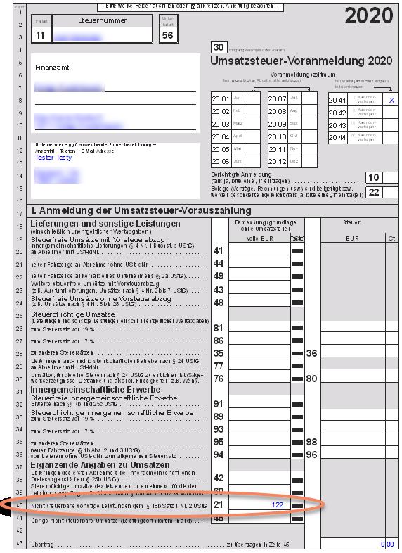 Formular für Umsatzsteuer-Voranmeldung