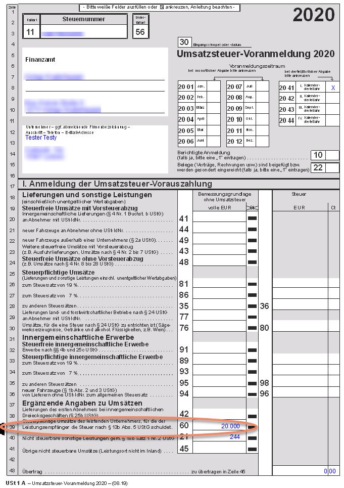 Formular Umsatzsteuer-Voranmeldung