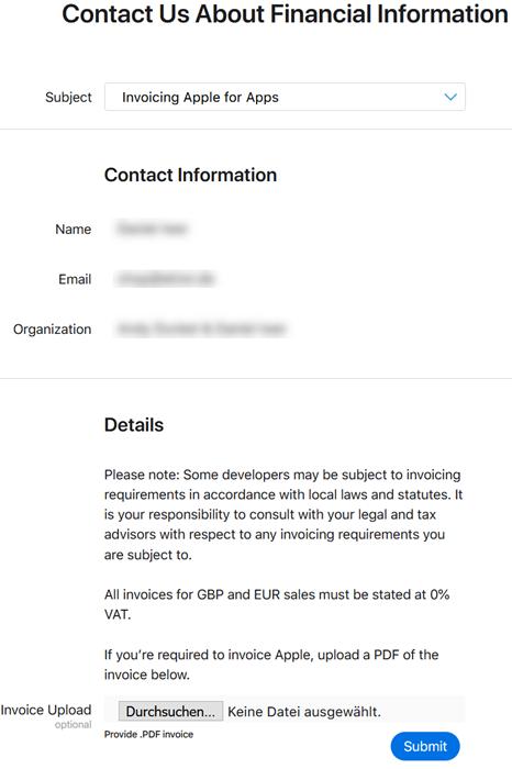 Screenshot Rechnung ohne Umsatzsteuer an Apple stellen