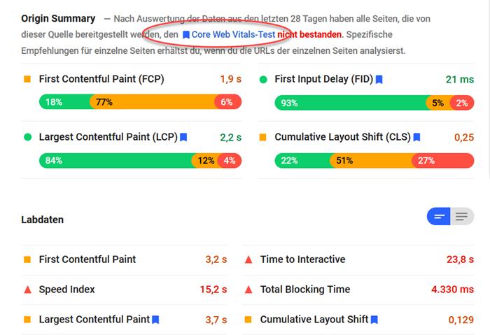 Screenshot Google Page Speed Insights