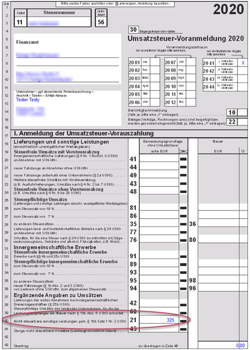 Screenshot Umsatzsteuer-Voranmeldung für Apple Provisionen aus App Store