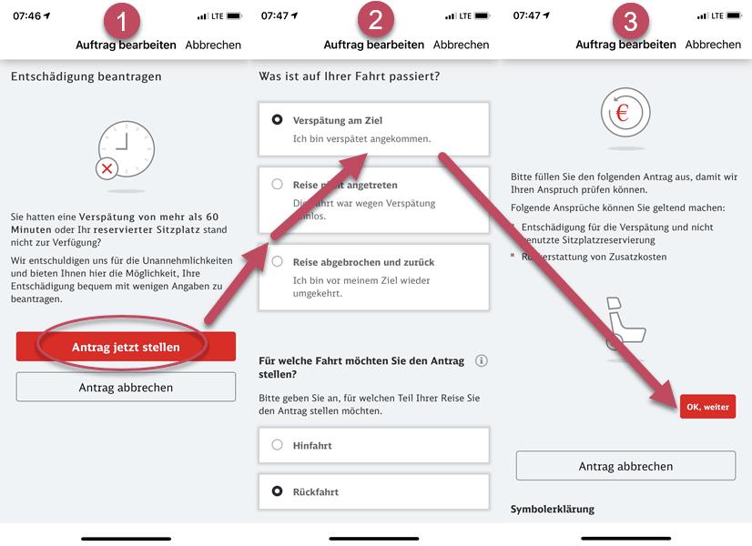 Screenshot DB App Antrag auf Entschädigung stellen