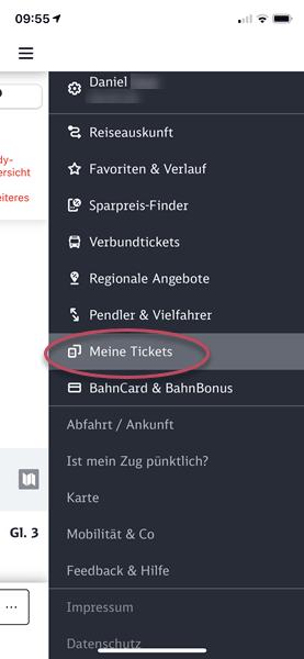 Screenshot DB Navigator Menü Meine Tickets