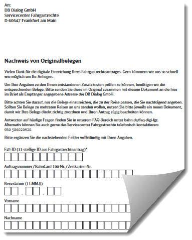 Formular der Deutschen Bahn für Nachweis von Originalbelegen