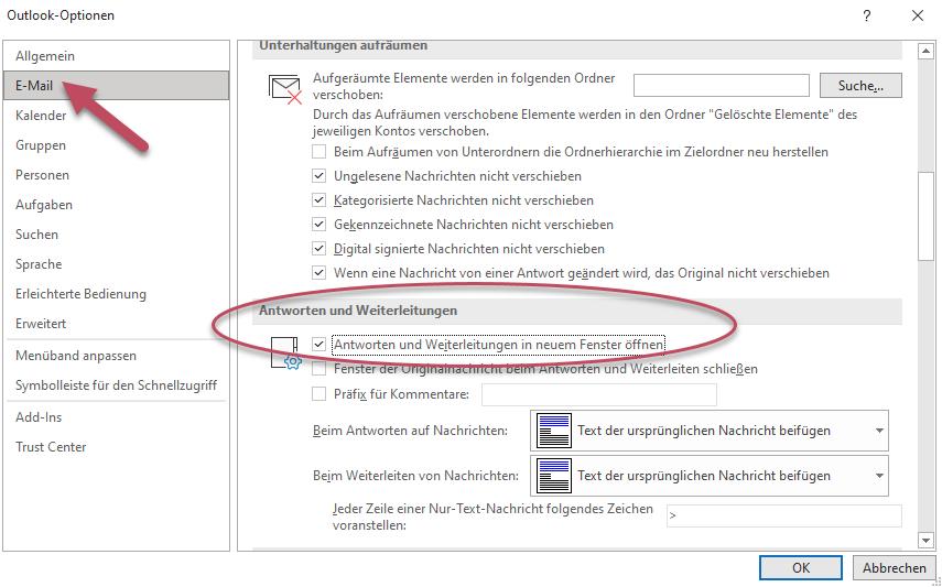 Screenshot Outlook E-Mail Optionen, die Checkbox aktivieren für Antworten und Weiterleitungen in neuem Fenster öffnen
