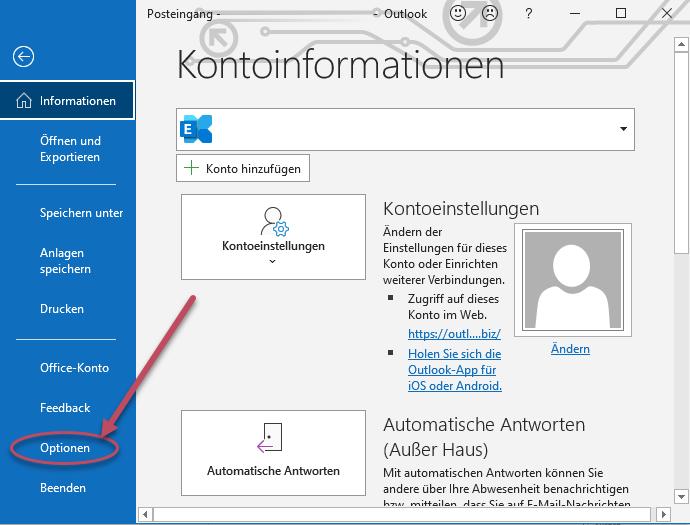 Screenshot Outlook Menü Datei zum Auswählen der Optionen
