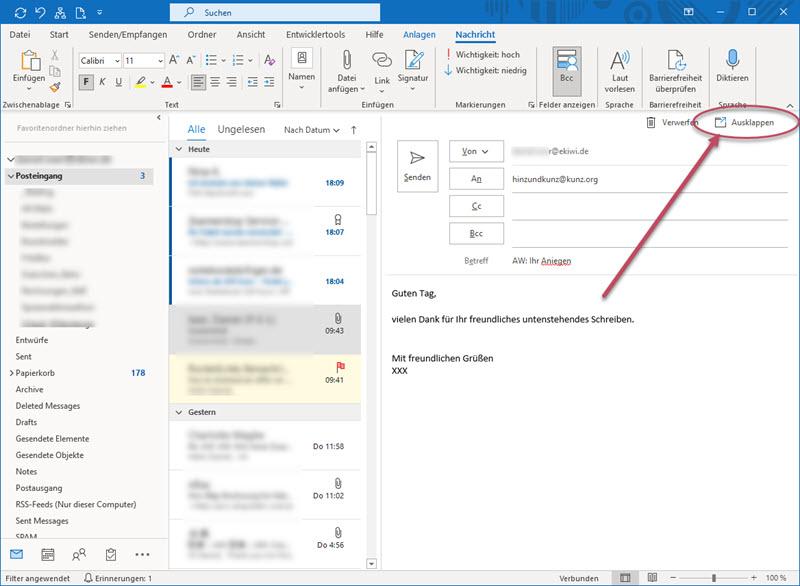 Screenshot Outlook Antwortenfenster mit Button Ausklappen