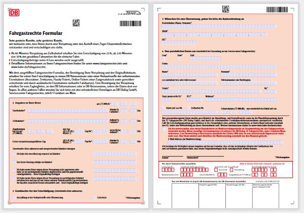Bild vom Fahrgastrechte-Formular zur Beantragung von Entschädigung und Rückerstattungen bei Zugverspätung und Zugausfällen