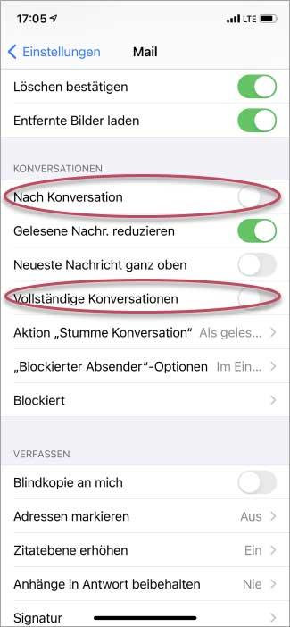 Screenshot iPhone Mail-Einstellungen Abschnitt Konversationen/Unterhaltungen