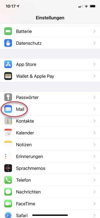 Screenshot iPhone Einstellungen Auswahl Mail