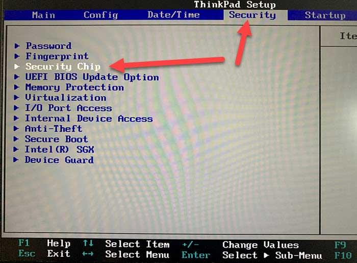 Screenshot BIOS UEFI Reiter Security