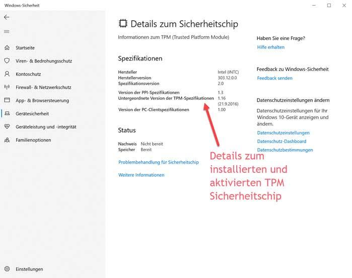 Screenshot Details zum Sicherheitschip