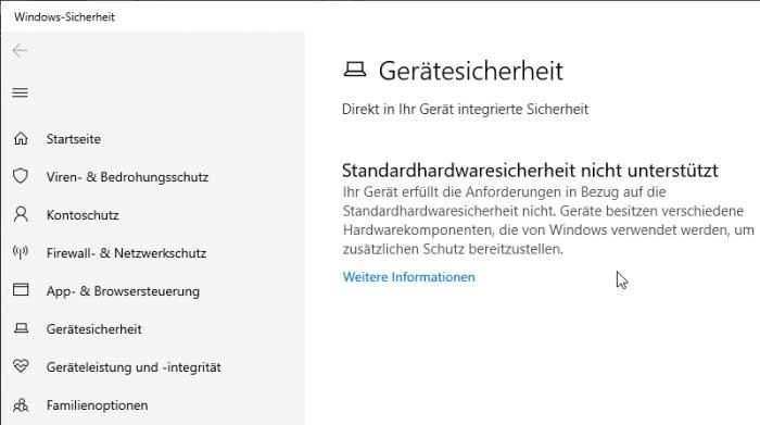 Screenshot Windows Einstellungen Gerätesicherheit kein Security Chip vorhanden