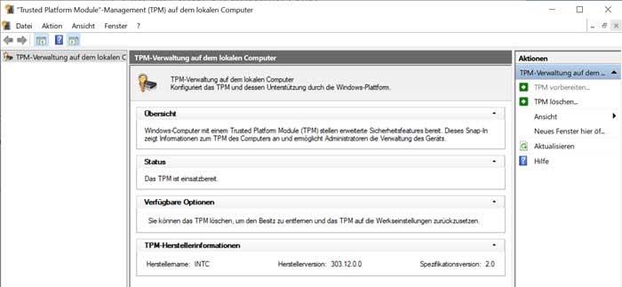 Screenshot des Trusted Platform Module Management
