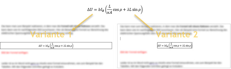 Rahmen um Formel erstellt mit Microsoft Word Formel-Editor