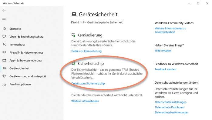 Screenshot Windows-Einstellungen Gerätesicherheit