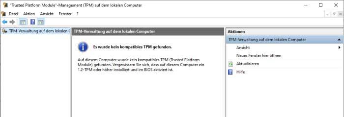 Screenshot TPM-Management hat kein kompatibles Gerät gefunden