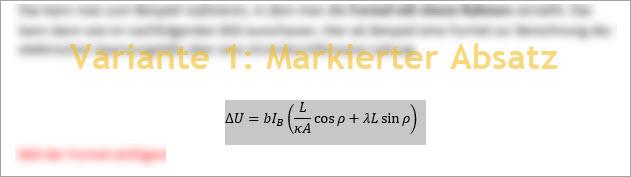 Screenshot Word Absatz mit Formel markiert