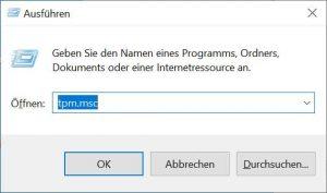 Screenshot Ausführen-Dialog tpm.msc eintippen