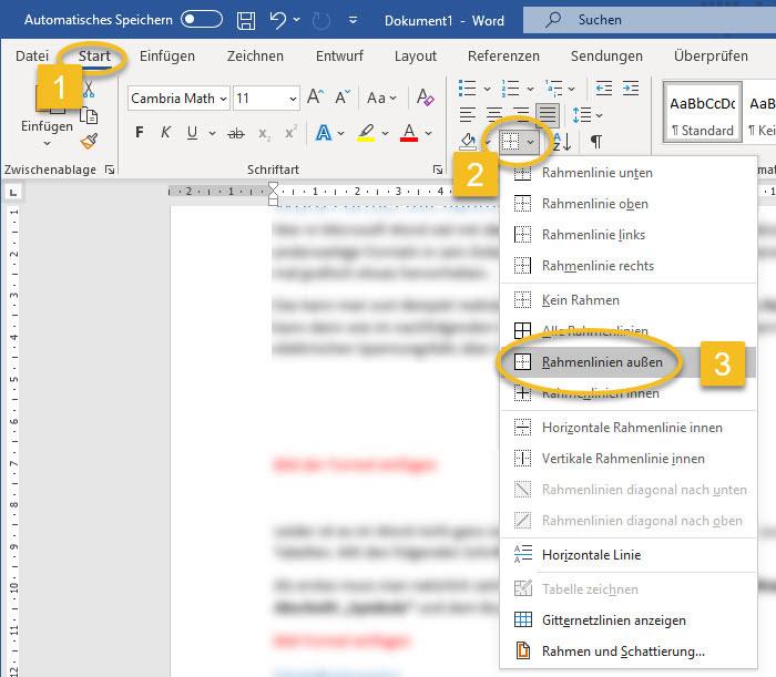 Screenshot Word Menü Start Abschnitt Absatz Rahmen ausgewählt