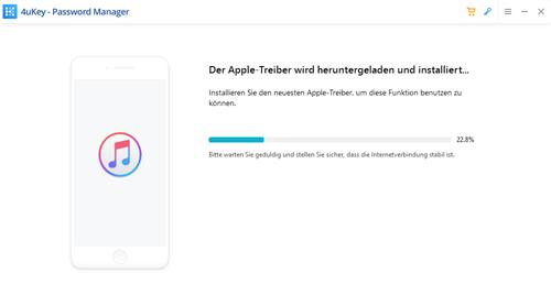 Screenshot 4uKey lädt Apple Treiber
